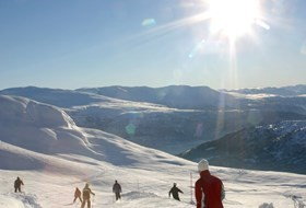 Fluffy snow and groomed skiing trails in Stryn, Norway.