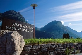 The Jostedalsbreen national park on a sunny day surrounded by beautiful nature
